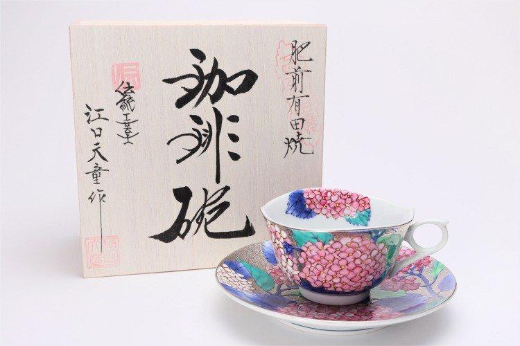 金龍窯 プラチナ紫陽花 コーヒー碗(木箱付) 画像メイン