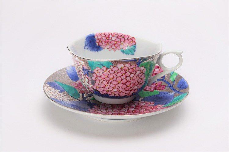 金龍窯 プラチナ紫陽花 コーヒー碗(木箱付) 画像サブ1