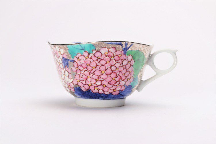 金龍窯 プラチナ紫陽花 コーヒー碗(木箱付) 画像サブ2