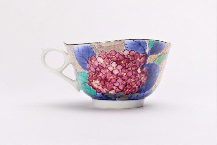 金龍窯 プラチナ紫陽花 コーヒー碗(木箱付) 画像サブ4