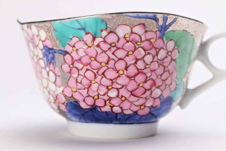 金龍窯 プラチナ紫陽花 コーヒー碗(木箱付) 画像サブ5