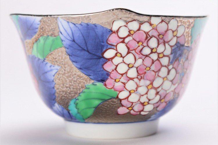 金龍窯 プラチナ紫陽花 コーヒー碗(木箱付) 画像サブ6
