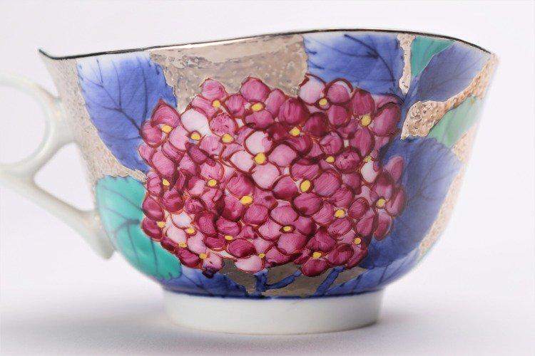 金龍窯 プラチナ紫陽花 コーヒー碗(木箱付) 画像サブ7