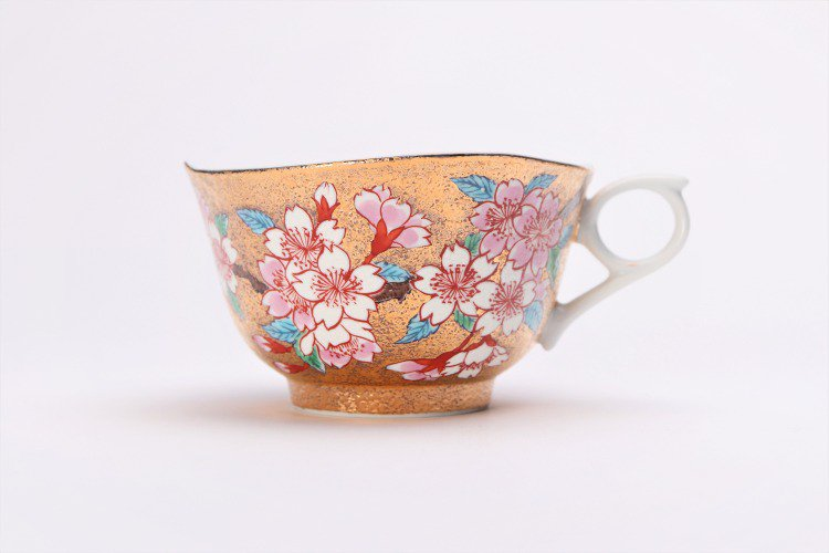 金龍窯 金彩桜 コーヒー碗(木箱付) 画像サブ2