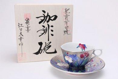 金龍窯 プラチナ菖蒲 コーヒー碗(木箱付)