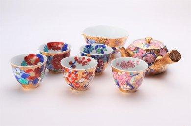 金龍窯 金彩桜 茶器セット(木箱付)