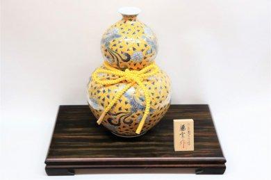 藤井朱明作 染錦古黄彩牡丹鳳凰瓢型壷