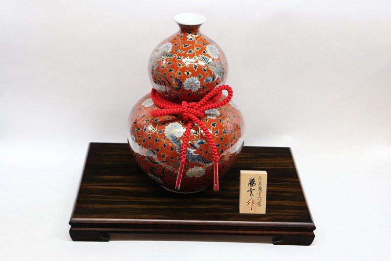 藤井朱明作 染錦朱彩牡丹鳳凰瓢型壷 画像メイン