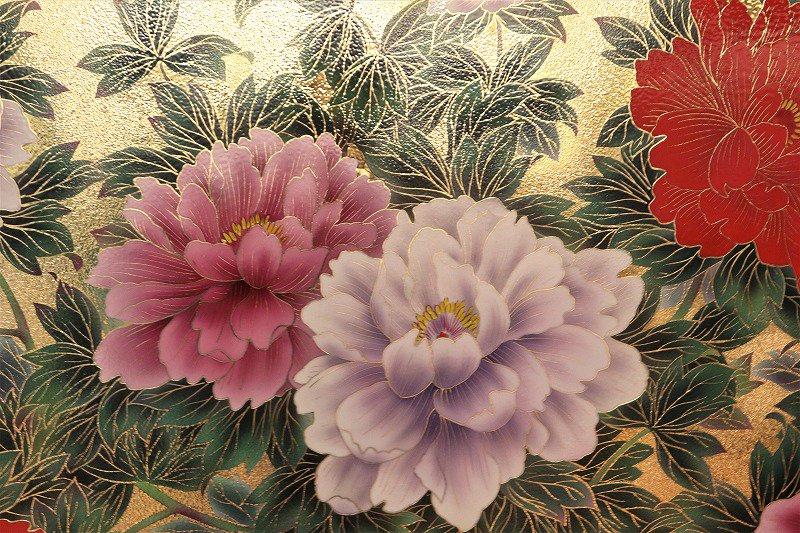 金龍窯 金彩牡丹桜図陶額 画像サブ1