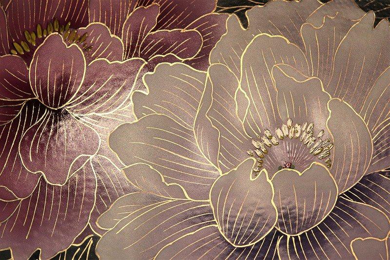 金龍窯 金彩牡丹桜図陶額 画像サブ2