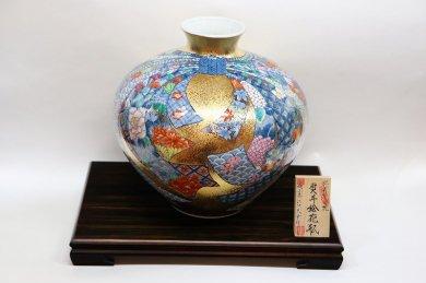 金龍窯 熨斗絵花瓶