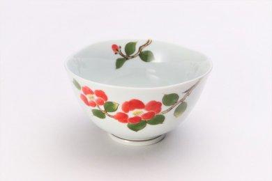 誕生花シリーズ 赤椿 茶碗 (1月誕生花)