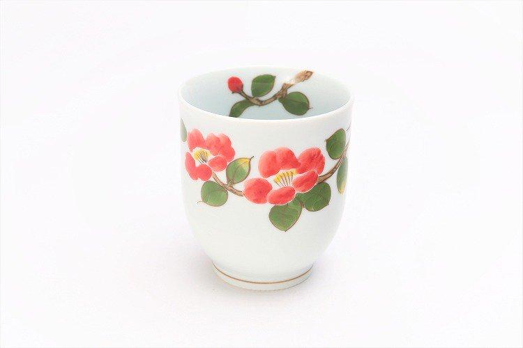 誕生花シリーズ 赤椿 湯呑 (1月誕生花) 画像メイン