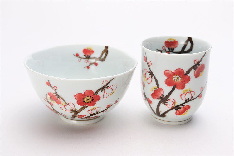 誕生花シリーズ 紅白梅 茶碗・湯呑セット (2月誕生花)(化粧箱入り) 画像メイン
