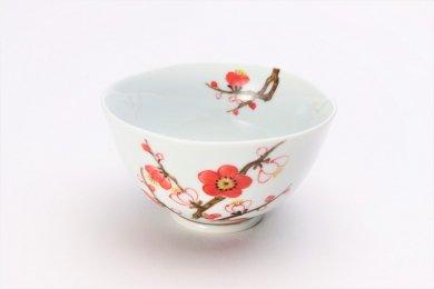 誕生花シリーズ 紅白梅 茶碗 (2月誕生花)
