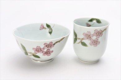 誕生花シリーズ 桜 茶碗・湯呑セット (4月誕生花)(化粧箱入り)