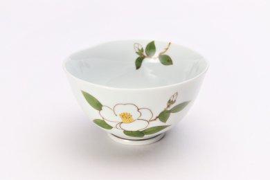 誕生花シリーズ 白サザンカ 茶碗 (12月誕生花)
