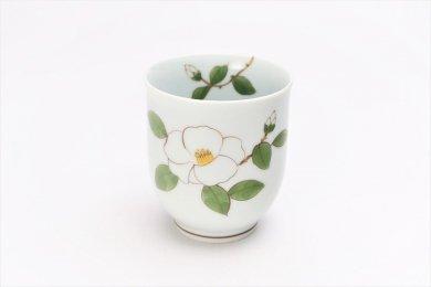 誕生花シリーズ 白サザンカ 湯呑 (12月誕生花)