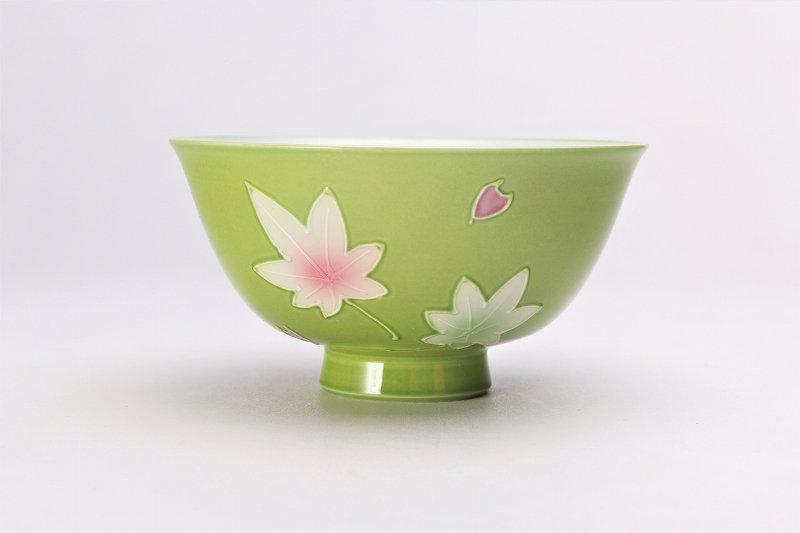 楽々シリーズ 春秋(緑・ピンク) ペア茶碗セット (化粧箱入り) 画像サブ1