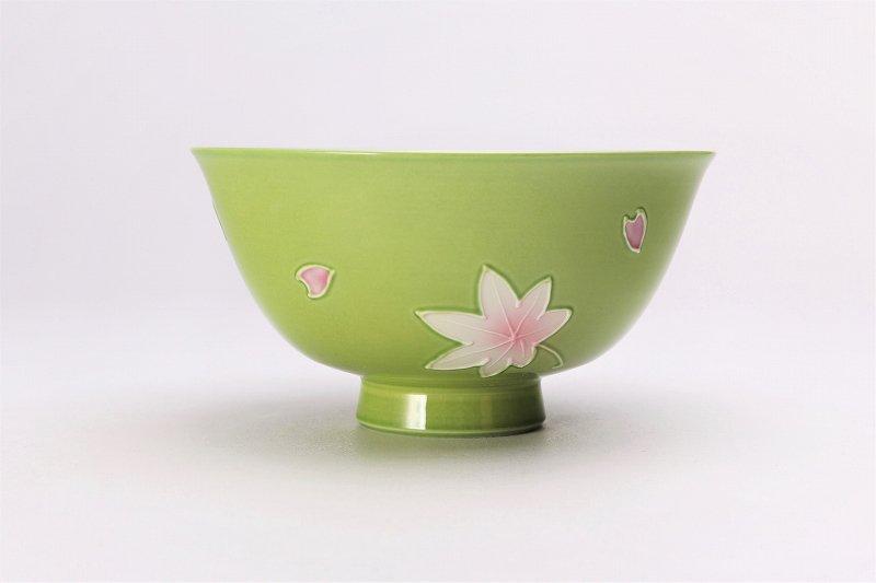 楽々シリーズ 春秋(緑・ピンク) ペア茶碗セット (化粧箱入り) 画像サブ2