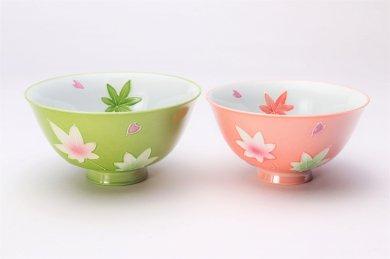 楽々シリーズ 春秋(緑・ピンク) ペア茶碗セット (化粧箱入り)