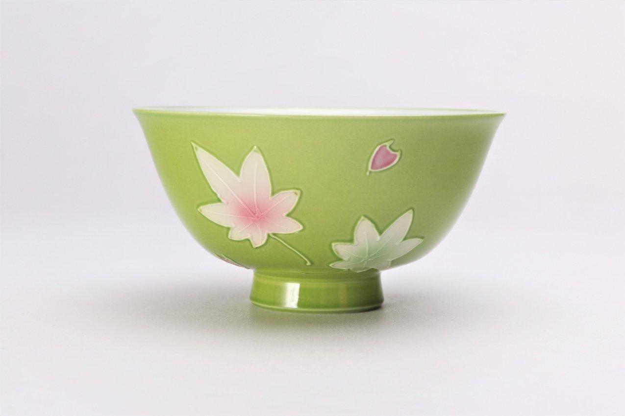 楽々シリーズ 緑春秋 茶碗(大) (化粧箱入り) 画像サブ1