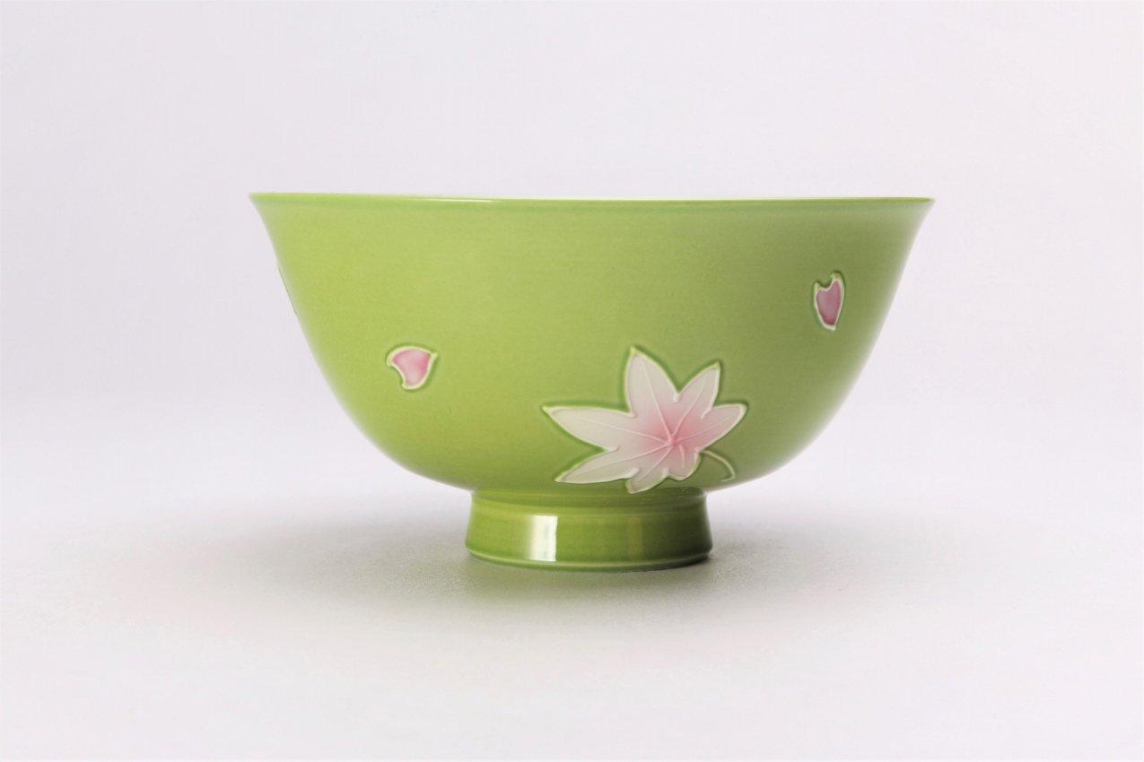 楽々シリーズ 緑春秋 茶碗(大) (化粧箱入り) 画像サブ2