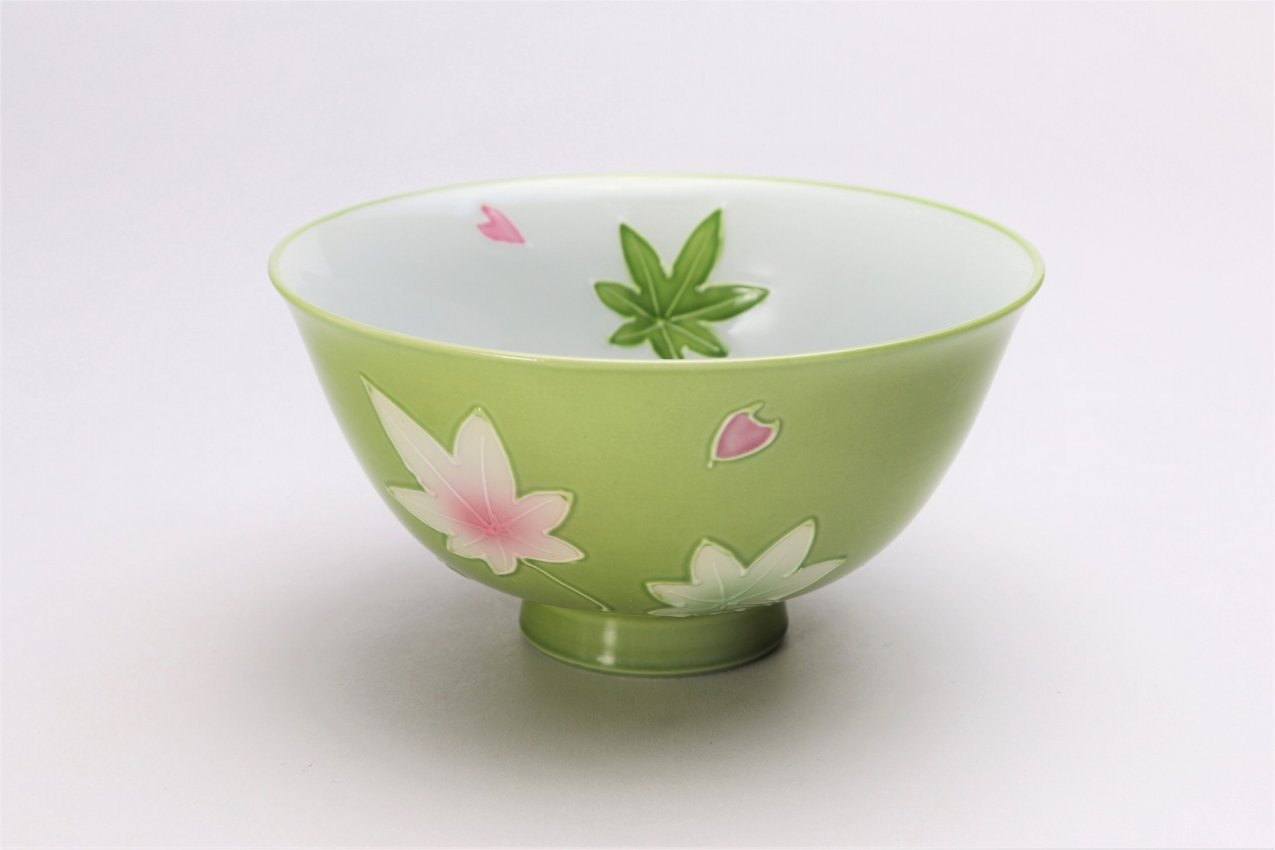 楽々シリーズ 緑春秋 茶碗(大) (化粧箱入り)