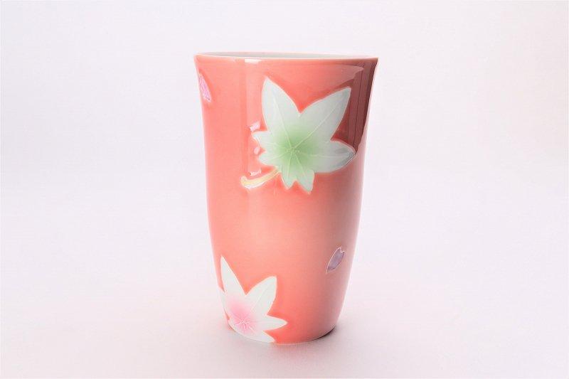 楽々シリーズ ピンク春秋 茶碗・フリーカップセット (化粧箱入り) 画像サブ5