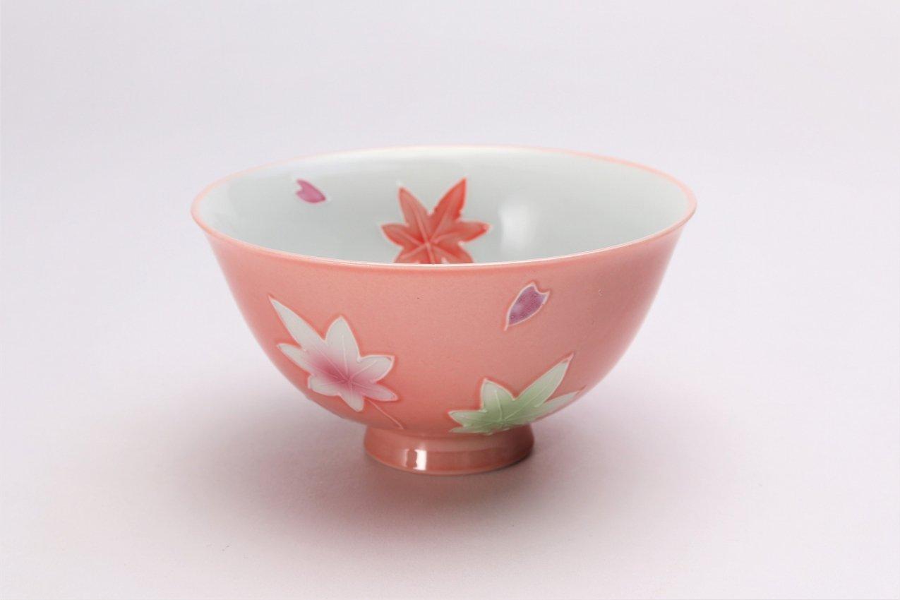 楽々シリーズ ピンク春秋 茶碗(中) (化粧箱入り) 画像メイン