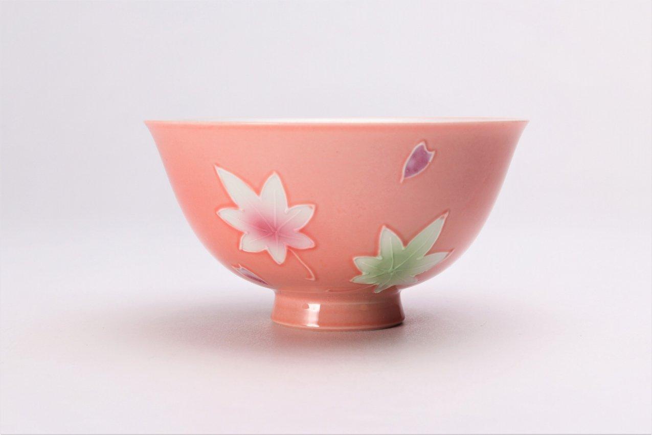 楽々シリーズ ピンク春秋 茶碗(中) (化粧箱入り) 画像サブ1