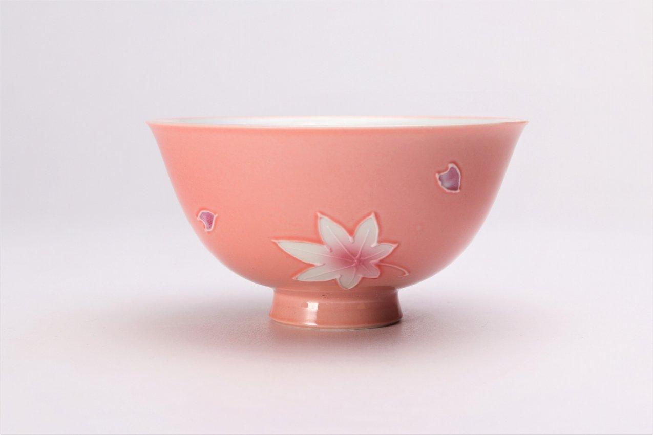楽々シリーズ ピンク春秋 茶碗(中) (化粧箱入り) 画像サブ2