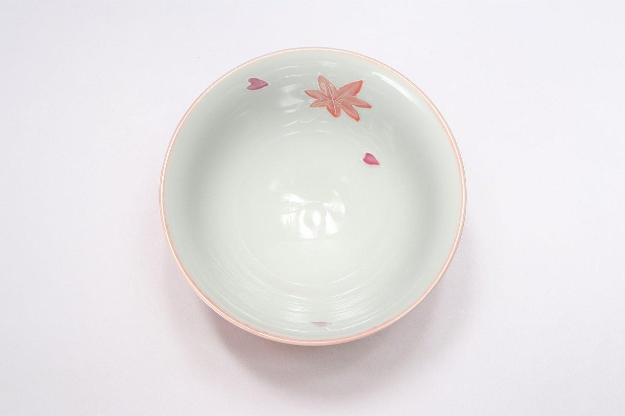 楽々シリーズ ピンク春秋 茶碗(中) (化粧箱入り) 画像サブ3