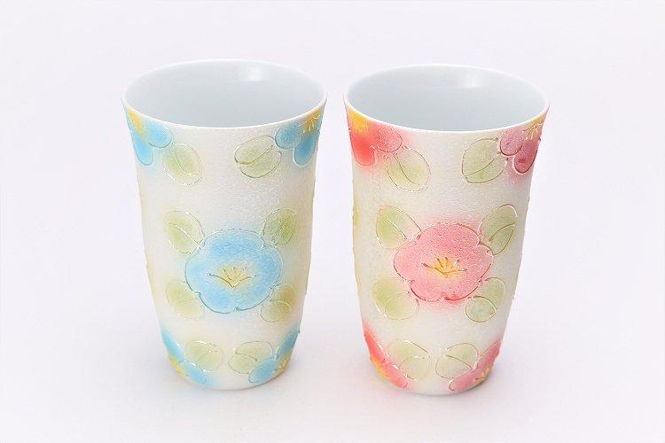 楽々シリーズ ラスター山茶花 ペアフリーカップ (化粧箱入り) 画像メイン