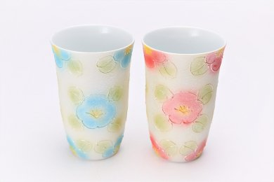 楽々シリーズ ラスター山茶花 ペアフリーカップセット (化粧箱入り)