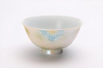 楽々シリーズ ラスター山茶花(青) 茶碗(大) (化粧箱入り)