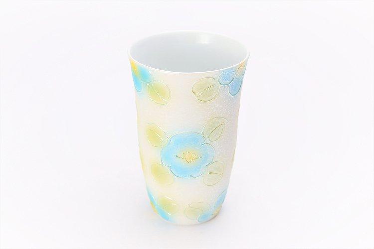 楽々シリーズ ラスター山茶花(青) フリーカップ (化粧箱入り) 画像メイン