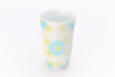 楽々シリーズ ラスター山茶花(青) フリーカップ (化粧箱入り)