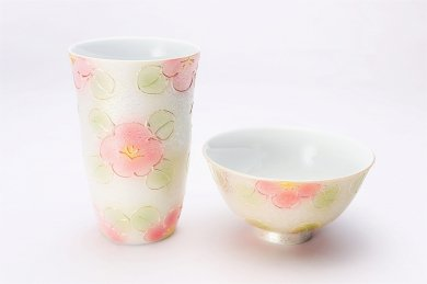 楽々シリーズ ラスター山茶花(赤) 茶碗・フリーカップセット (化粧箱入り)