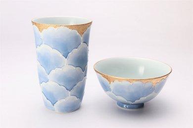 楽々シリーズ 金牡丹 茶碗・フリーカップセット (化粧箱入り)