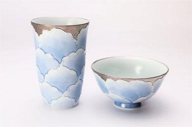 楽々シリーズ プラチナ牡丹 茶碗・フリーカップセット (化粧箱入り)