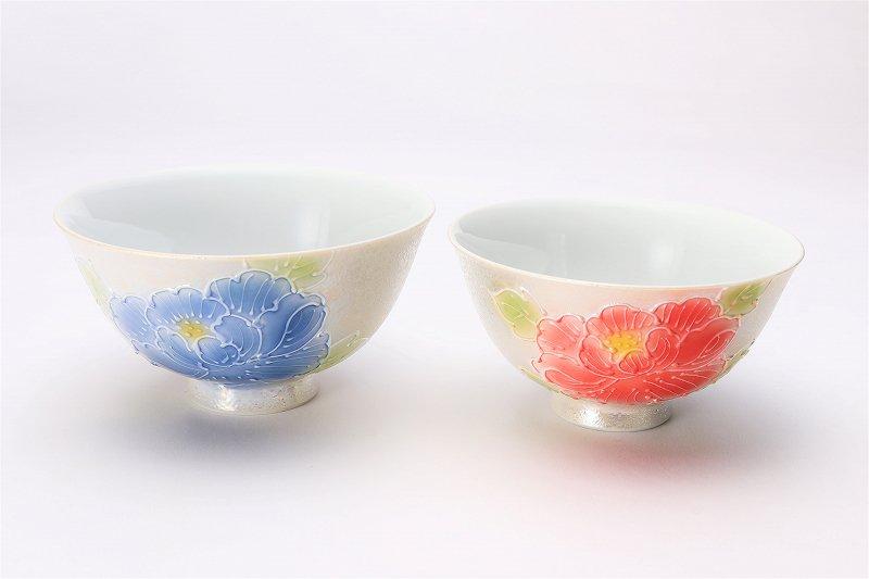 楽々シリーズ 牡丹パールラスター ペア茶碗 (化粧箱入り) 画像メイン