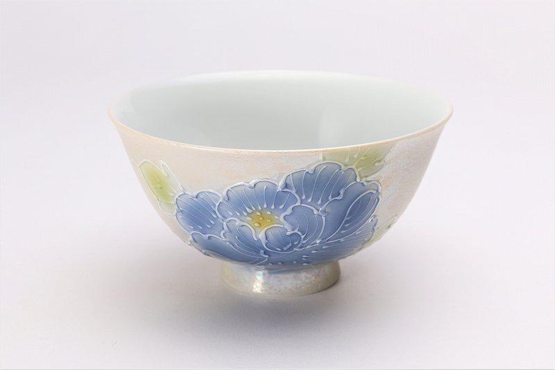 楽々シリーズ 青牡丹パールラスター 茶碗(大) (化粧箱入り) 画像メイン