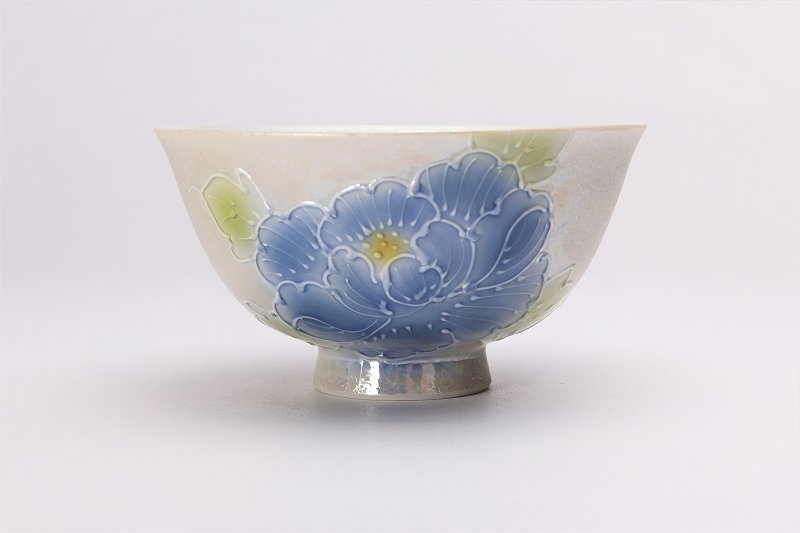 楽々シリーズ 青牡丹パールラスター 茶碗(大) (化粧箱入り) 画像サブ1