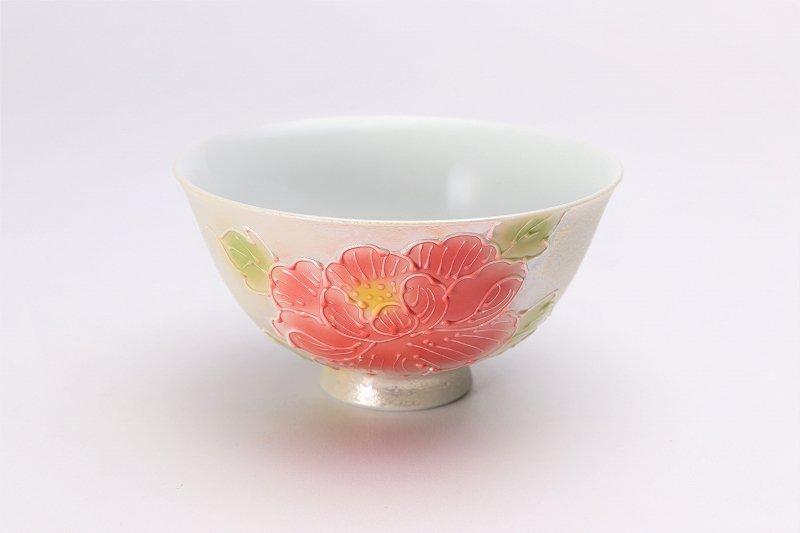 楽々シリーズ 赤牡丹パールラスター 茶碗(中) (化粧箱入り) 画像メイン