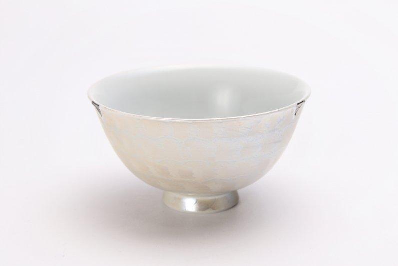 楽々シリーズ ラスターシルバー 茶碗(中) (化粧箱入り) 画像メイン