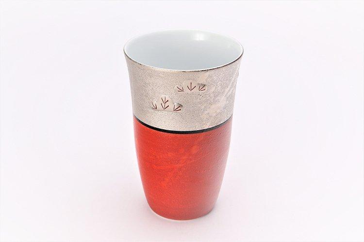 楽々シリーズ 錦朱巻銀彩松竹梅 フリーカップ (化粧箱入り) 画像メイン