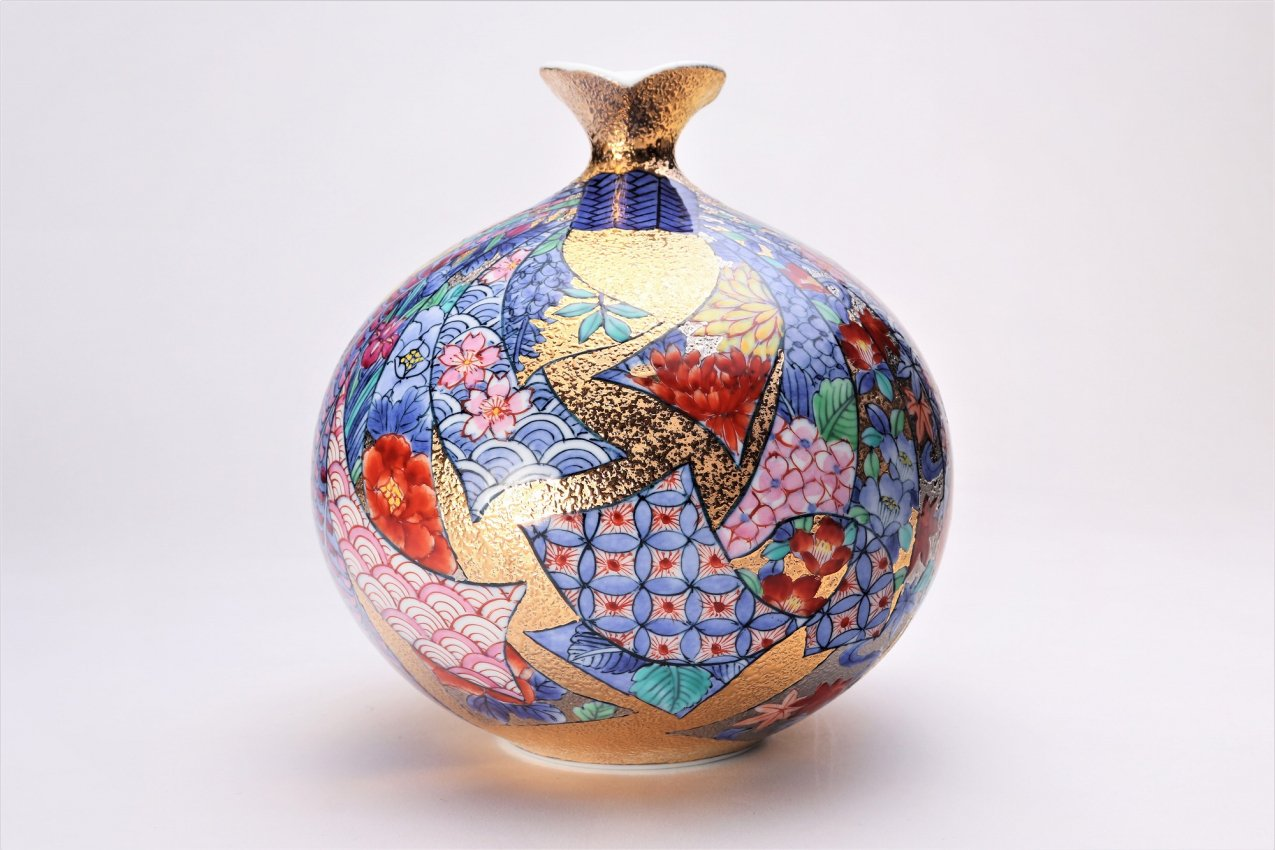金龍窯 金彩熨斗絵ミニ花瓶 画像サブ1