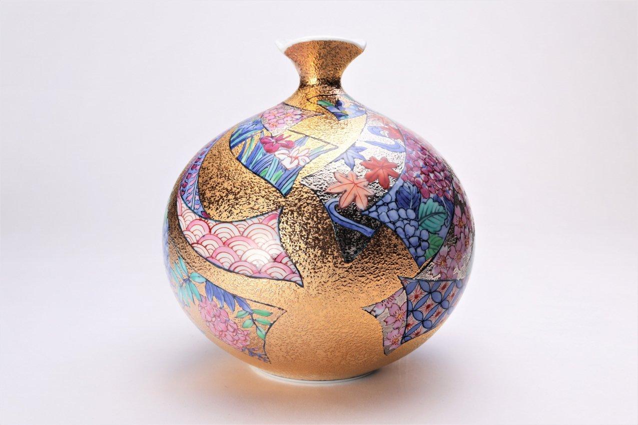 金龍窯 金彩熨斗絵ミニ花瓶 画像サブ2