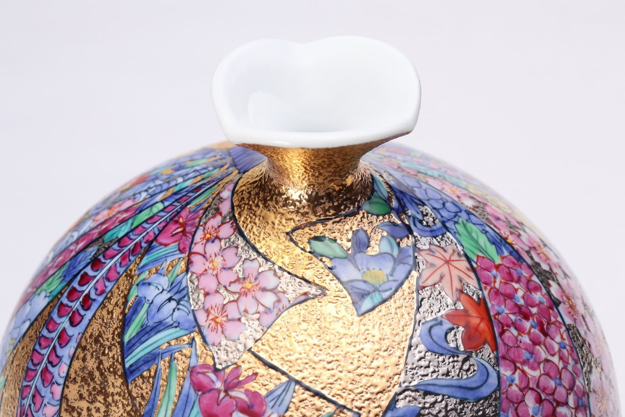 金龍窯 金彩熨斗絵ミニ花瓶 画像サブ4